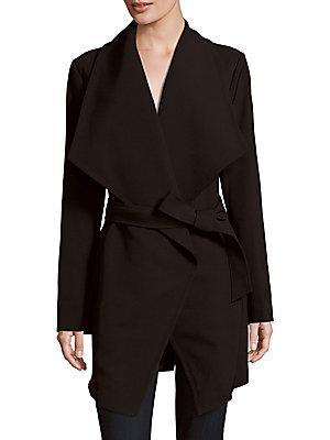 T Tahari Shawl Collar Wrap Coat In Black