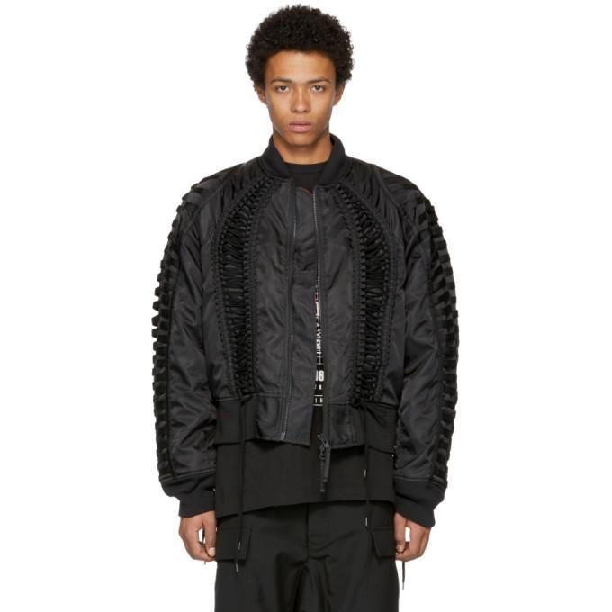 Ktz Black Lace-up Bomber Jacket