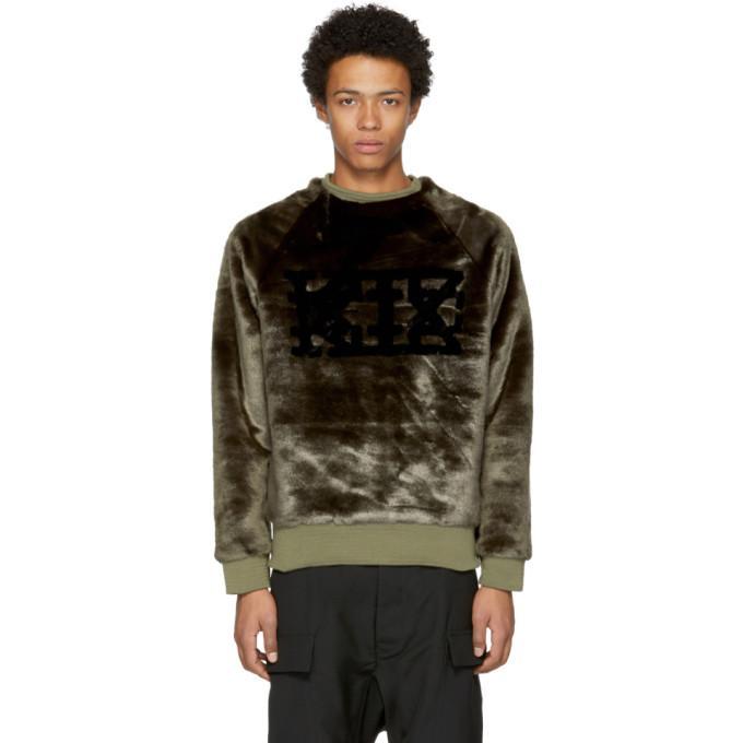 Ktz Brown Faux-fur Logo Sweatshirt In Black / White
