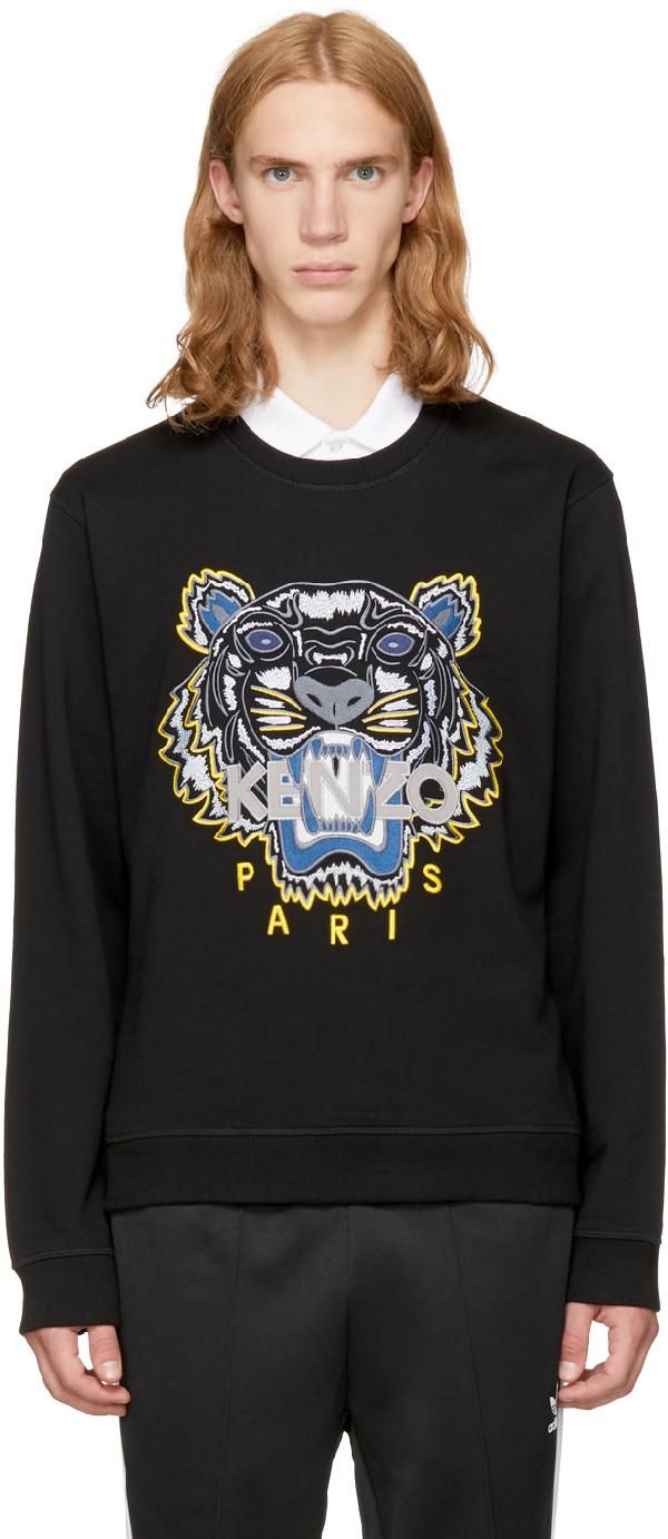 Kenzo Tiger Embroidered Cotton Sweatshirt In Black