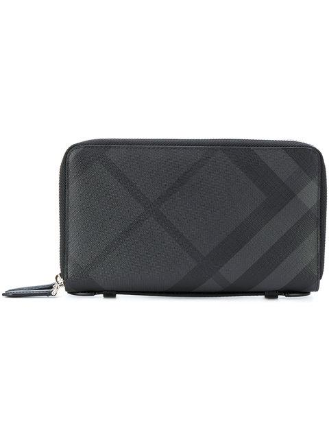 Burberry London Check Ziparound Wallet In Black