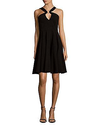 Halston Heritage Pleated Fit-&-flare Dress In Black