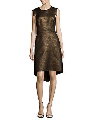 Halston Heritage Metallic Hi-Lo Dress In Brown