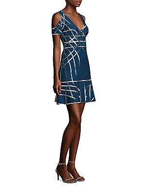 Herve Leger Cold Shoulder Dress In Royal Blue Combo