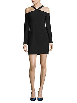 Black Halo Octavia Cold Shoulder Mini Dress In Black