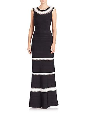Herve Leger Braided-inset Bandage Gown In Black Combo