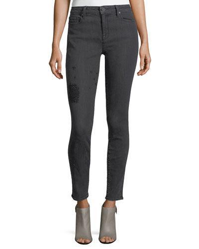 Parker Smith Ava Embroidered-leg Skinny Jeans In Griffin