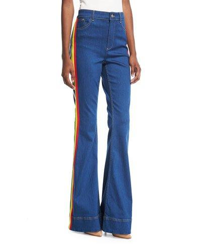 Alice And Olivia Kayleigh Bell-bottom Jeans With Side Rainbow Stripes In Blue Pattern