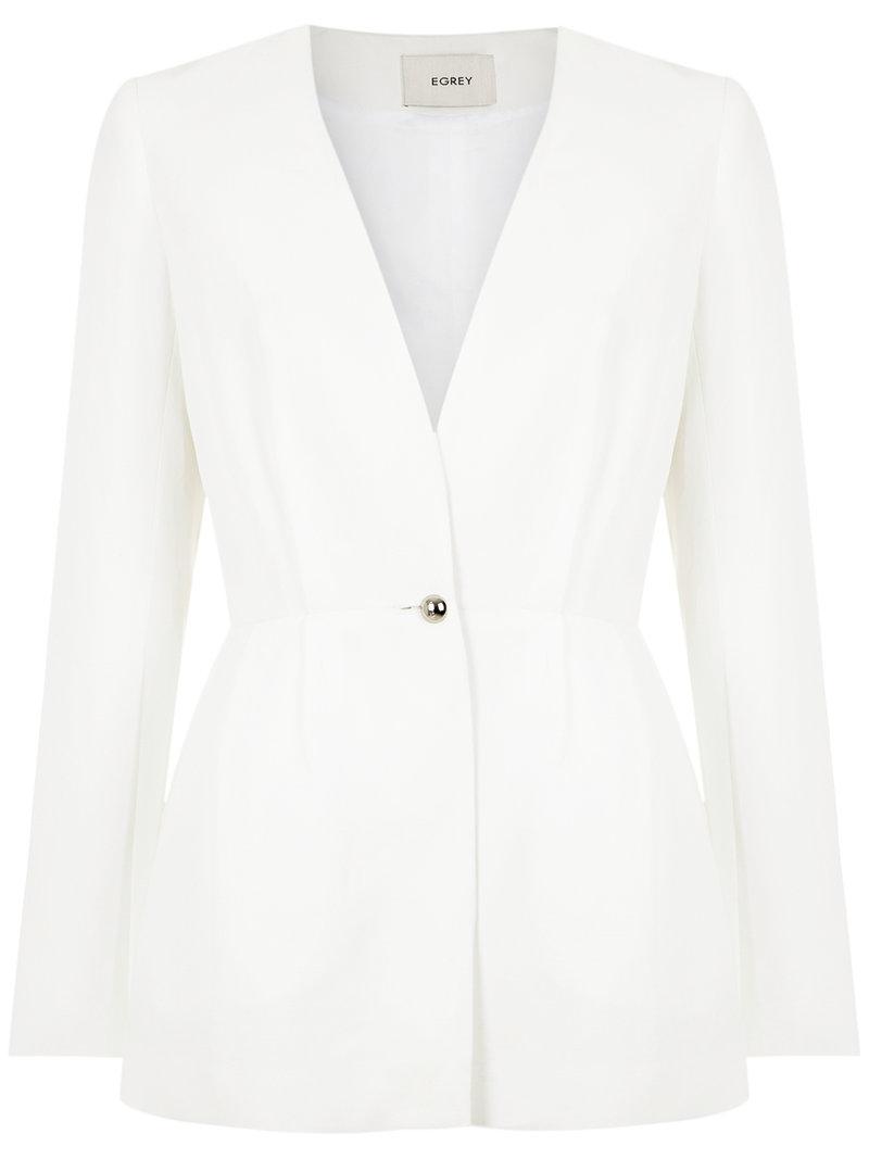 Egrey Drapped Blazer - White