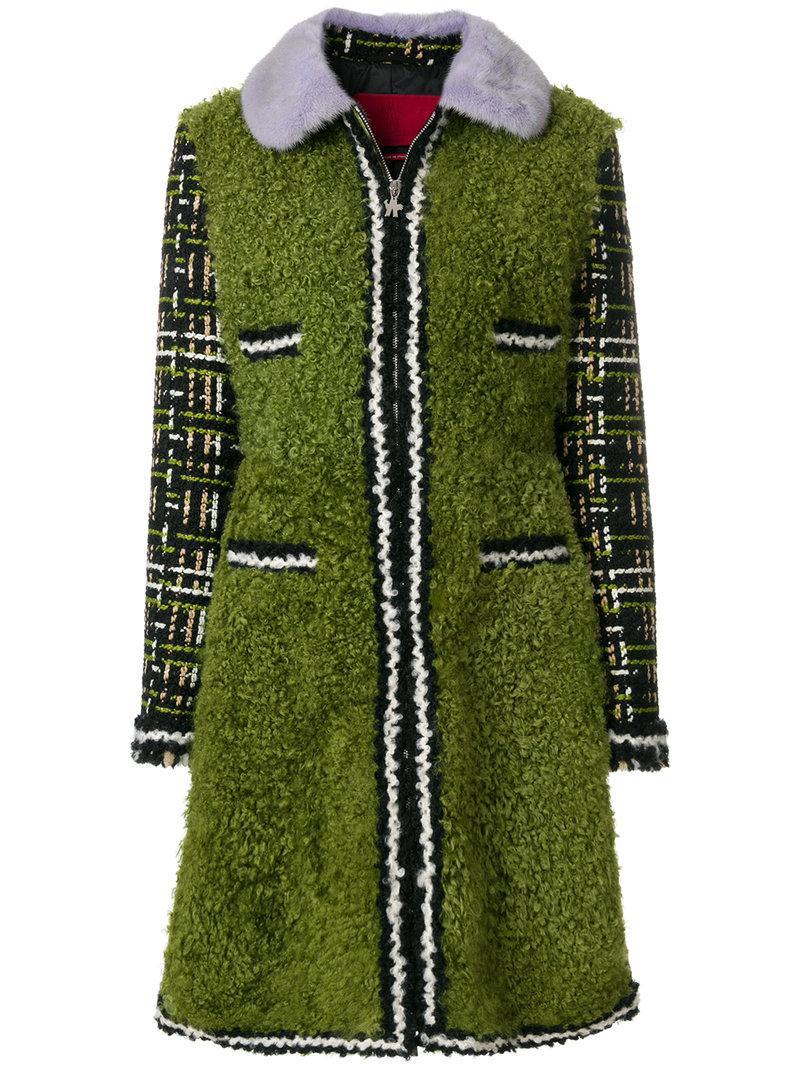 Moncler Gamme Rouge Mink Fur Trim Coat In Green