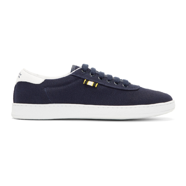 Aprix Leather-trimmed Suede Sneakers - Navy In Navy/white