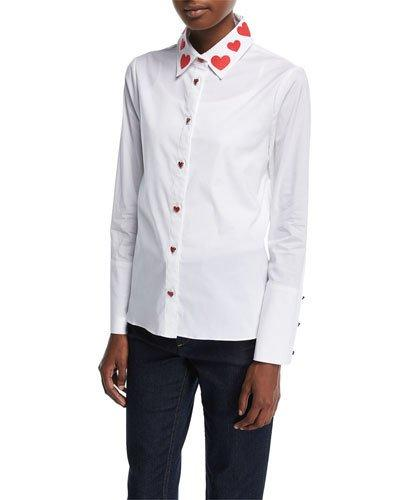 aff93c65 Alice And Olivia Darwin Embroidered Cropped Button Down Shirt In White/Red