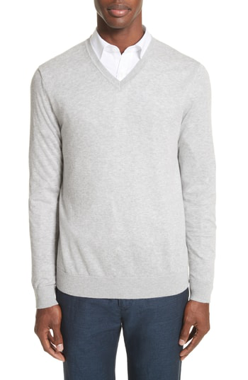 Burberry Randolf V-neck Sweater - 100% Exclusive In Pale Grey Melange