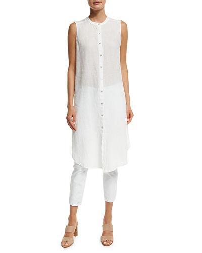 Eileen Fisher Sleeveless Mandarin-collar Linen Tunic, Plus Size In White