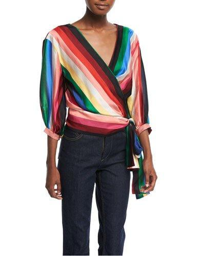 Alice And Olivia Dyanna Wrap-front Blouson Top In Multi