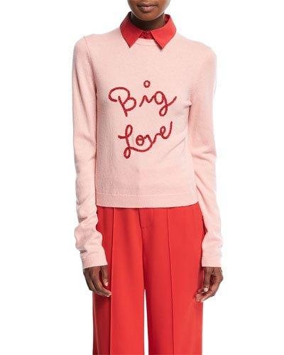Alice And Olivia Dia Big Love Collared Stretch-cashmere Sweater In Pink/red