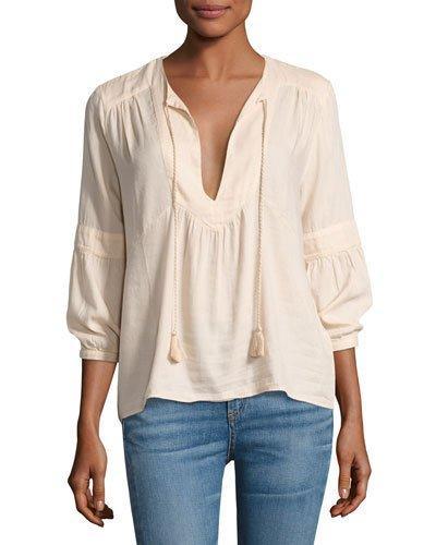 Ba&sh Tyron Split-neck 3/4-sleeve Top, Nude In Neutral Pattern