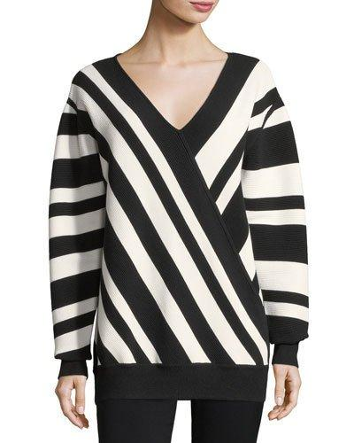Grey By Jason Wu Ribbed Striped V-neck Pullover In Blackstar White