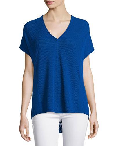 Vince Chevron-stitched V-neck Cashmere Shirt In Capri