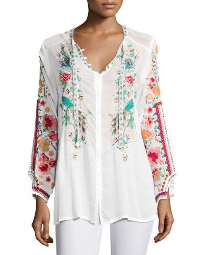Johnny Was Peacock Embroidered Georgette Top, Plus Size In White