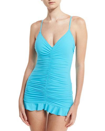 Profile By Gottex Swan Lake Shirred Swimdress In Manhattan Blue
