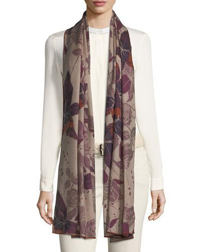 Loro Piana Cashmere Stola Amaryllis Floral Pattern Soft Air Scarf In Pink/purple