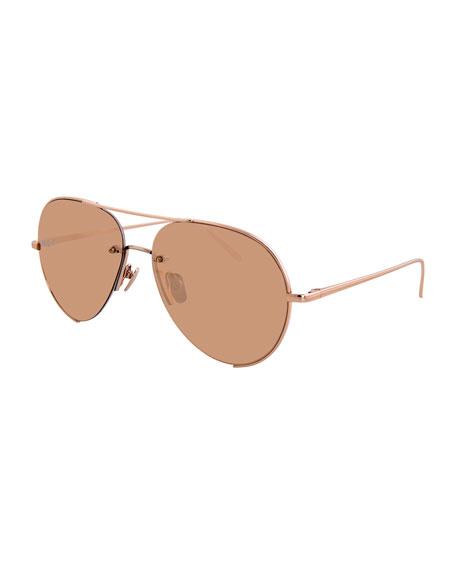 Linda Farrow 65Mm Oversize Aviator Sunglasses - Rose Gold/ Peach