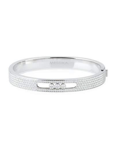 Messika Move Joaillerie Small Pave Diamond Bangle, White Gold