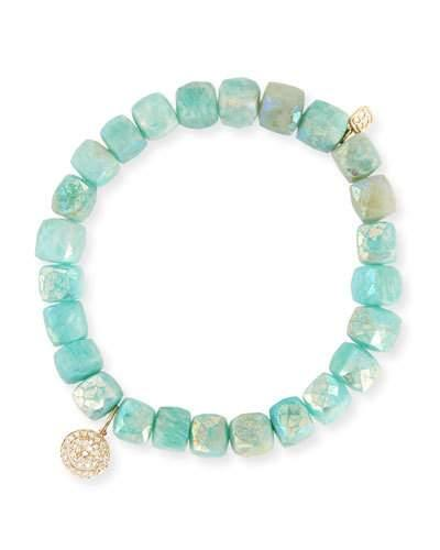 Sydney Evan 8mm Beaded Amazonite Bracelet With Diamond Happy Face Charm In Green