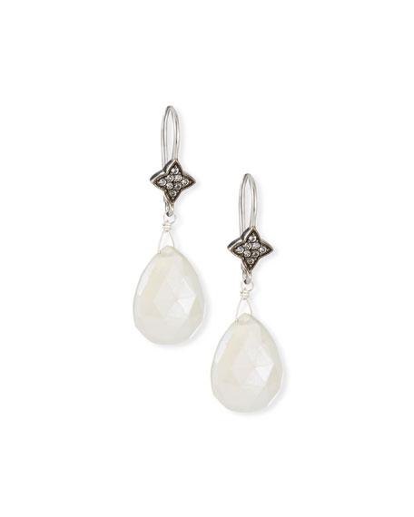 Margo Morrison White Chalcedony & Sapphire Drop Earrings