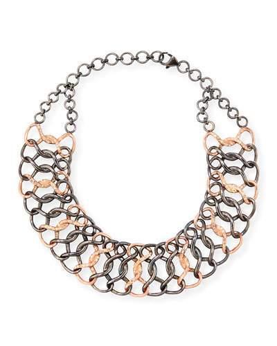 Siena Jewelry Silver & 14k Rose Gold Diamond Chain Choker Necklace