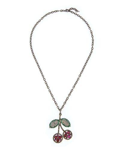 Siena Lasker Ruby Cherry Pendant Necklace With Emeralds & Diamonds