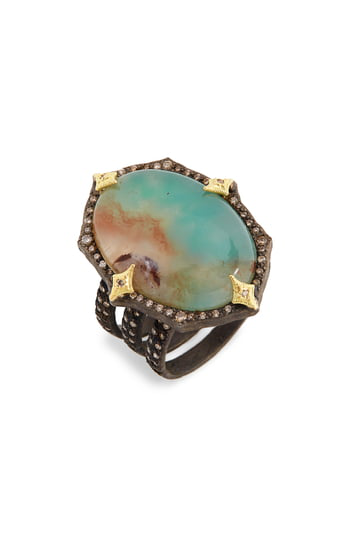 Armenta Old World Aquaprase™ Oval Cabochon Ring With Diamonds In Silver