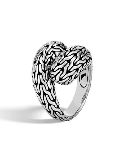 John Hardy Classic Chain Silver Medium Bypass Ring