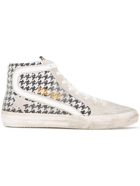 Golden Goose Slide Houndstooth Hi Top Sneakers In Grey