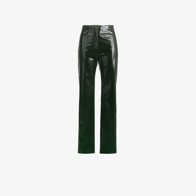 Acne Studios Tugi Vinyl Slim Leg Trousers In Green