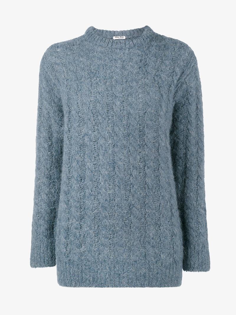 Miu Miu Oversized Cable Knit Sweater In Blue