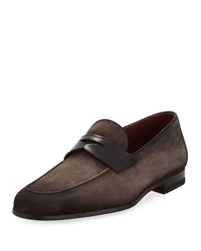 Neiman Marcus Soft Suede Flat Penny Loafer, Gray