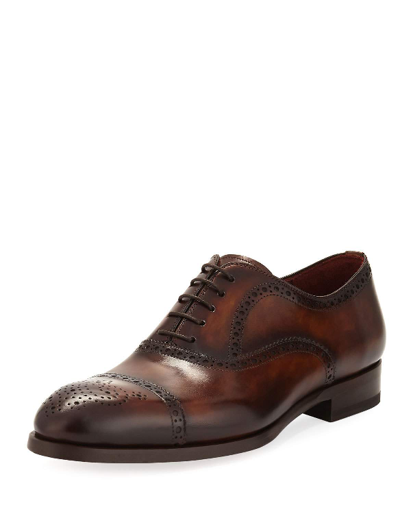 Neiman Marcus Two-tone Lace-up Dress Shoe In Brown