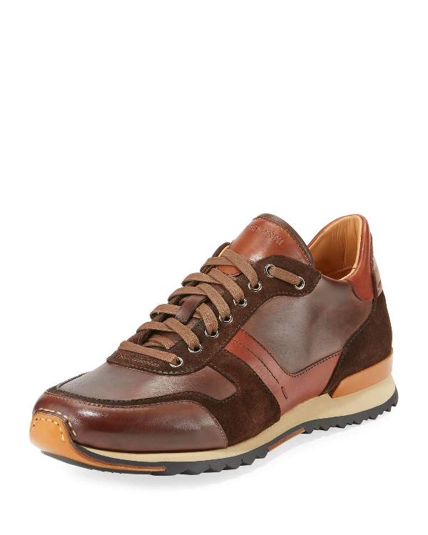 Neiman Marcus Men's Leather & Suede Sneakers In Brown