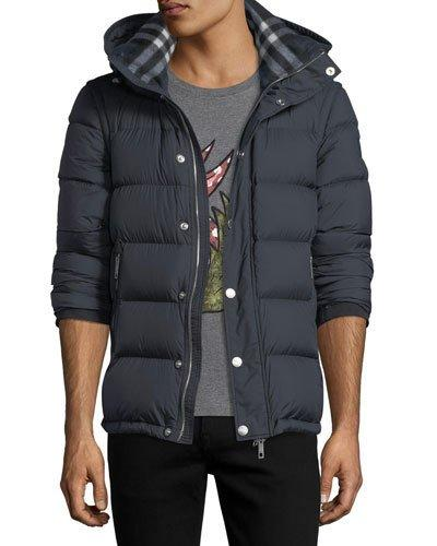 Burberry High Standing Collar Padded Jacket In Navy