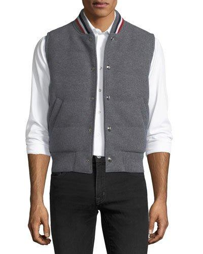 Moncler Gamme Bleu Waffle-knit Padded Vest In Gray