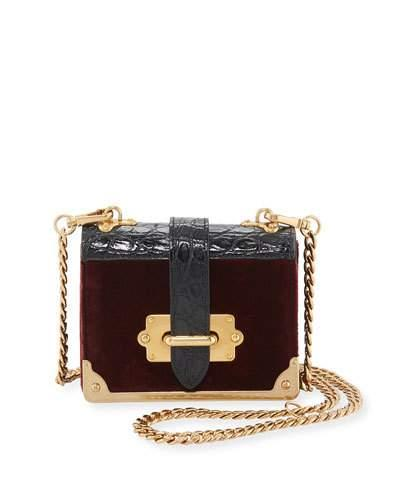 dddf125ead8b Prada Cahier Micro Velvet Crossbody Bag In Red/Black | ModeSens