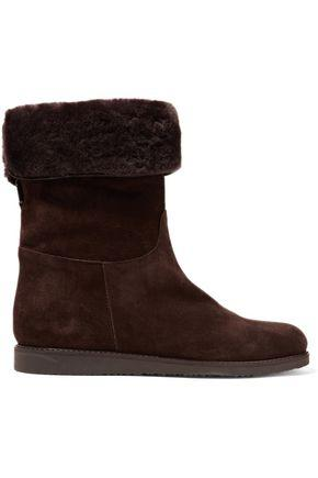 Salvatore Ferragamo Woman Shearling-lined Suede Ankle Boots Dark Brown