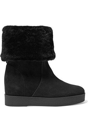 Salvatore Ferragamo Woman Shearling-lined Suede Boots Black