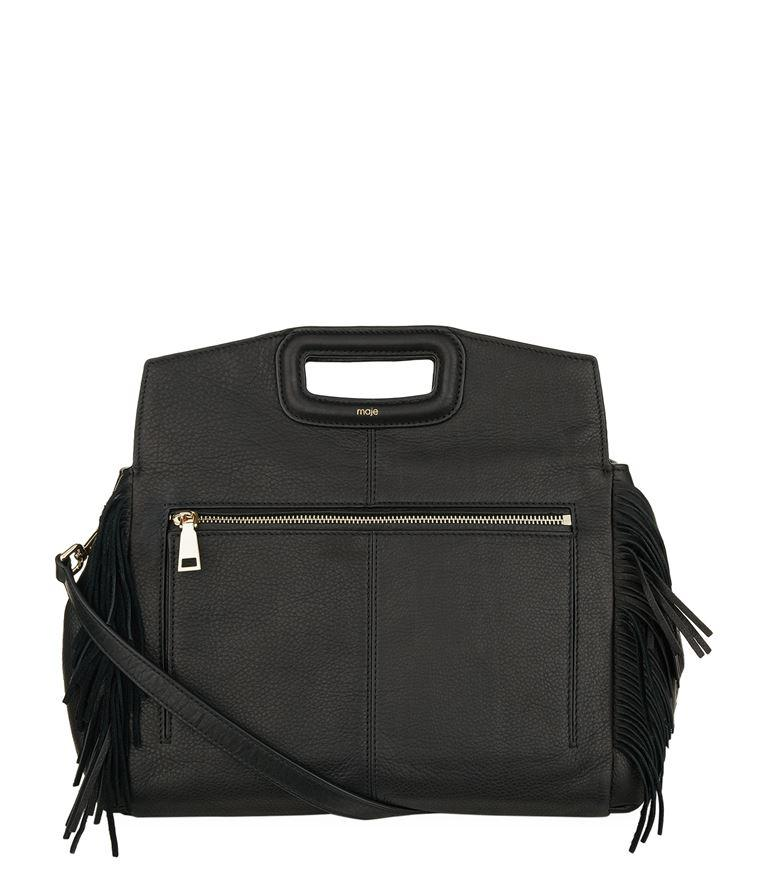 Maje Leather Fringed Bag In Grey