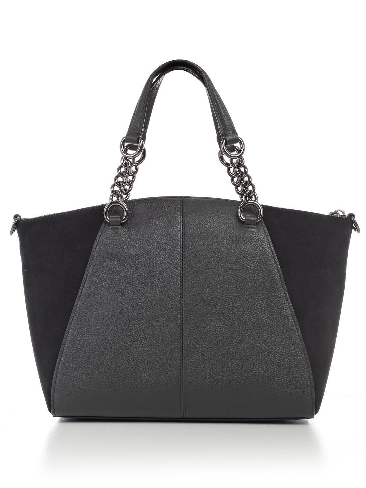 Coach Chain Prairie Leather Satchel In Dkblk Black