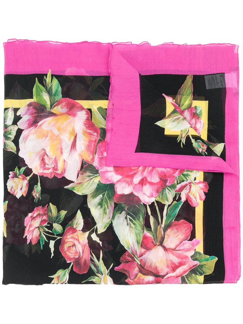 Dolce & Gabbana Floral Scarf - Black