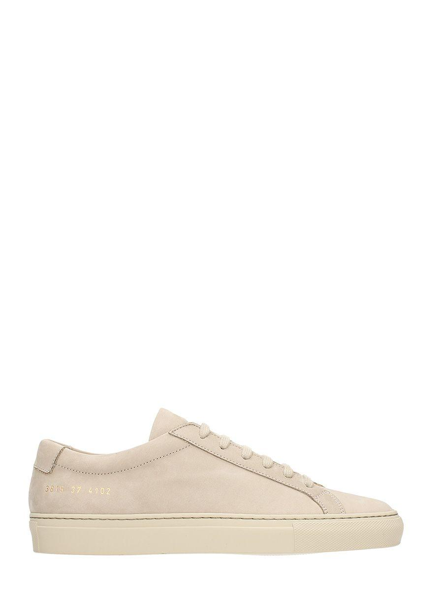 Common Projects Achilles Original Low Beige Suede Sneakers