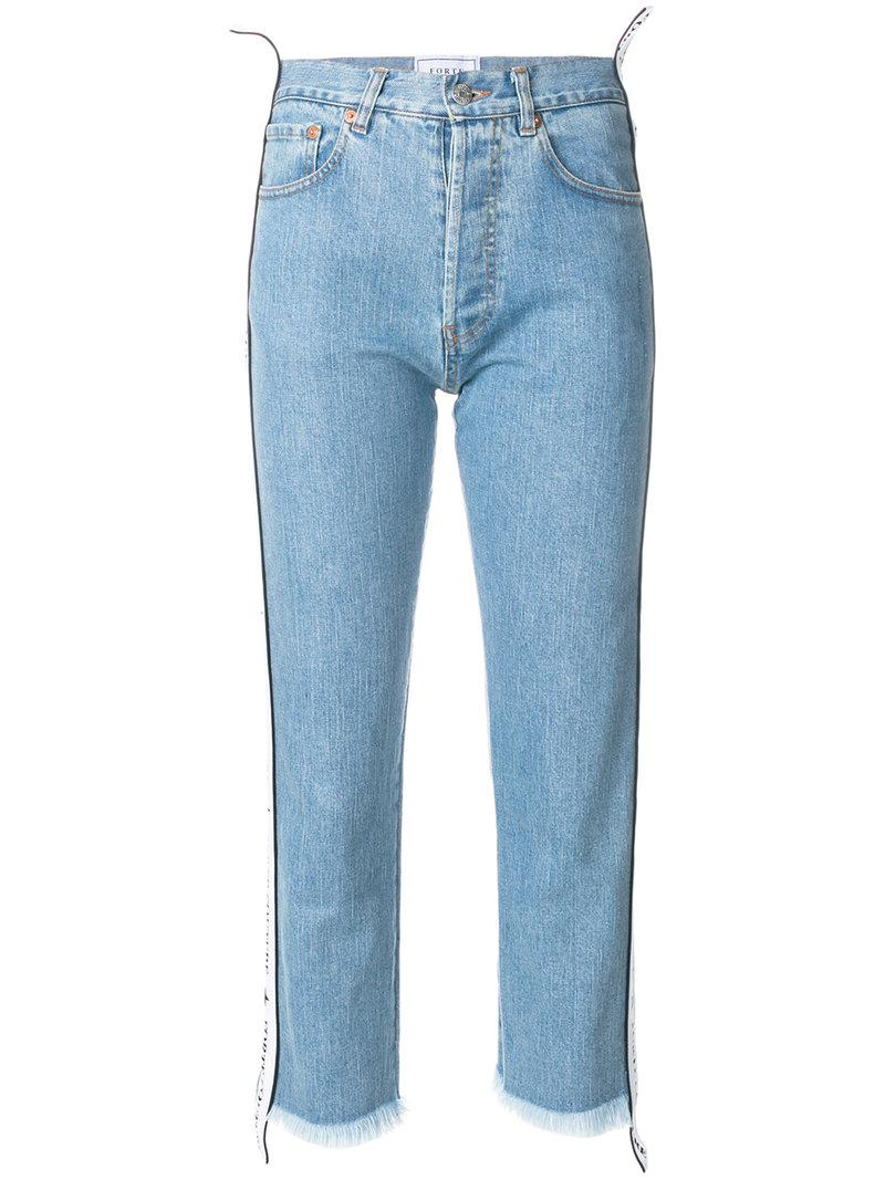 Forte Couture Side Band Cropped Jeans In Blue